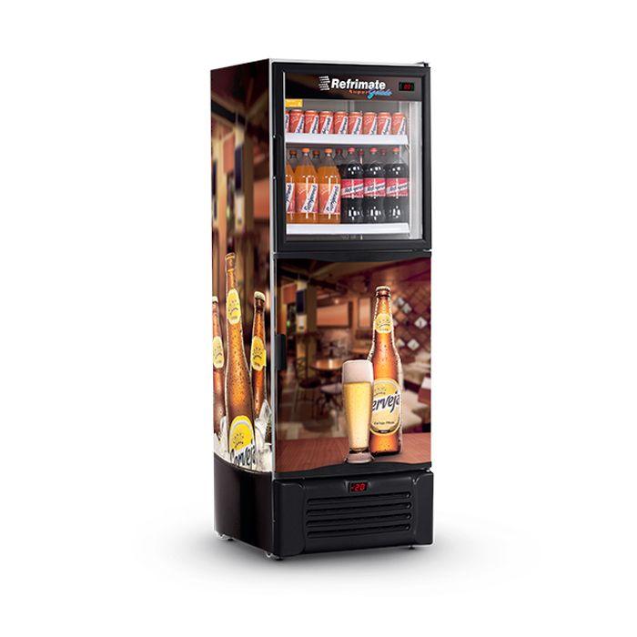 Vitrine/refrigerador vertical 600lt 127v cervejeira preto refrimate mod.vcdcr