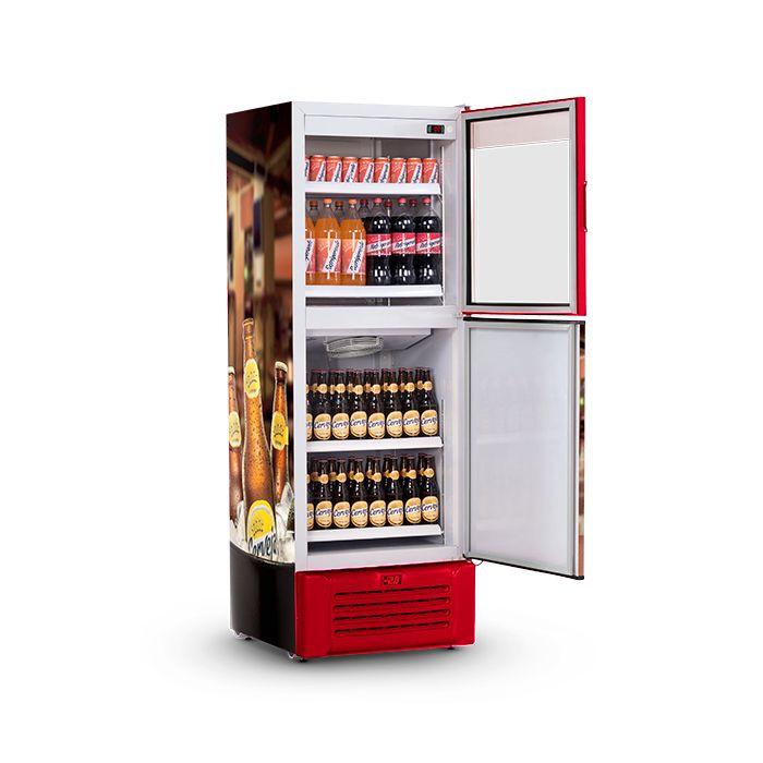 Vitrine/refrigerador vertical 600lt 127v cervejeira vermelh.refrimate mod.vcdcr