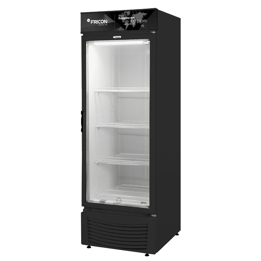 Vitrine Vertical Refrigeradora e Freezer Para Bebidas 284L Fricon Preto VCED 284 V - 127v