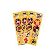 Adesivo 3 Cartelas Redondo Mickey Clássico