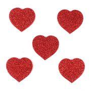 Aplique Coração Glitter em EVA Vermelho