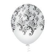 """Balão Látex Decorado Arabesco 10"""" Branco com Preto - 25un"""