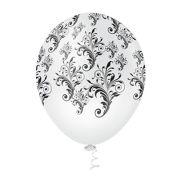 """Balão Látex Decorado Arabesco 10"""" Incolor com Preto - 25un"""