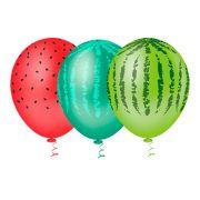 "Balão Látex Decorado Melancia 10"" - 25un"