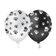 """Balão Látex Decorado Patinhas de Cachorro 10"""" - 25un"""
