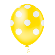 Balão Látex Poá Amarelo 10 Polegadas - 25 Unidades