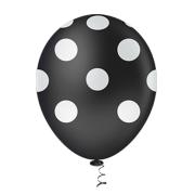 Balão Látex Poá Preto com Branco 10 Polegadas - 25 Unidades
