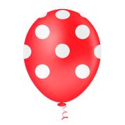 Balão Látex Poá Vermelho e Branco 10 Polegadas - 25 Unidades