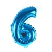 Balão Metalizado Número 6 Azul 35cm
