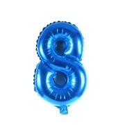 Balão Metalizado Número 8 Azul 35cm