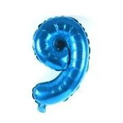 Balão Metalizado Número 9 Azul 35cm
