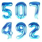 Balão Metalizado Números Gigante Super Shape Azul 90cm