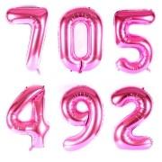 Balão Metalizado Números Gigante Super Shape Rosa 90cm
