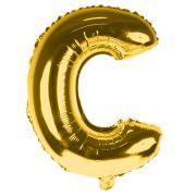 Balão Metalizado Letra C Dourado 35cm