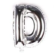 Balão Metalizado Letra D Prata 35cm