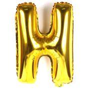Balão Metalizado Letra H Dourado 35cm