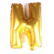 Balão Metalizado Letra N Dourado 35cm