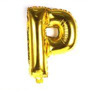 Balão Metalizado Letra P Dourado 35cm