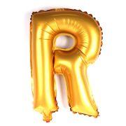 Balão Metalizado Letra R Dourado 35cm