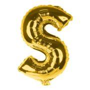 Balão Metalizado Letra S Dourado 35cm