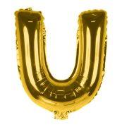 Balão Metalizado Letra U Dourado 35cm