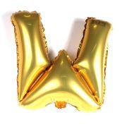 Balão Metalizado Letra W Dourado 35cm
