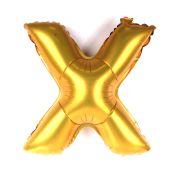 Balão Metalizado Letra X Dourado 35cm