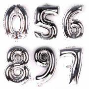 Balão Metalizado Números Grande Prata 70cm