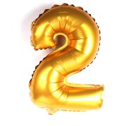 Balão Metalizado Número 2 Dourado 35cm