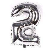 Balão Metalizado Número 2 Prata 35cm