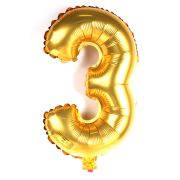 Balão Metalizado Número 3 Dourado 35cm