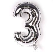 Balão Metalizado Número 3 Prata 35cm