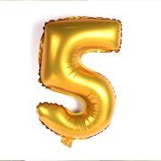 Balão Metalizado Número 5 Dourado 35cm