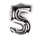 Balão Metalizado Número 5 Prata 35cm