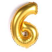 Balão Metalizado Número 6 Dourado 35cm