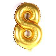 Balão Metalizado Número 8 Dourado 35cm
