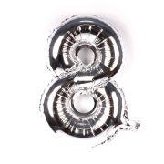 Balão Metalizado Número 8 Prata 35cm