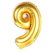Balão Metalizado Número 9 Dourado 35cm