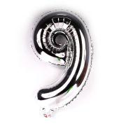Balão Metalizado Número 9 Prata 35cm