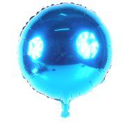 """Balão Metalizado Redondo Azul 18"""""""