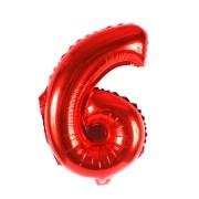 Balão Metalizado Número 6 Vermelho 35cm