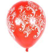 Balão Pic Pic Arabesco Nº10 C/ 25Un Vermelho E Branco