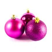 Bola de Natal Pink Mista 6cm - 10 Unidades