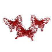 Enfeite Borboleta com Glitter Vermelha - 3 Unidades