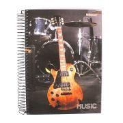 Caderno Espiral 10 Matérias 200 Folhas Capa Dura Música