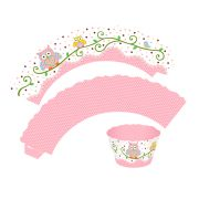 Capa para Cupcake Wrapper Corujinha Rosa 12 unidades
