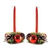 Castiçal de Natal Duplo com Velas - Vermelho