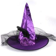 Chapéu de Bruxa Roxo com Véu e Penas