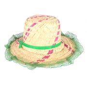 Chapéu de Palha Infantil Feminino com Renda