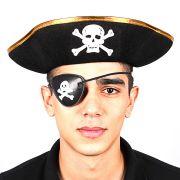 Chapéu Pirata Unissex Borda Dourada